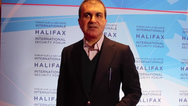 Turkey Minister of European Union Omer Celik give an interview after he attend Halifax 8th International Security Forum in HalifaxCanada on November...