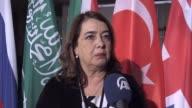 Turkey President Gulden Turktan and the President of Women Entrepreneurs Association of Turkey Sanem Oktar talk after a panel as part of the W20...
