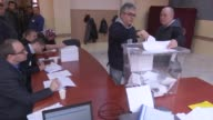 Turkeybased Bulgarian citizens cast their ballots for the Bulgarian parliamentary elections at a polling station in Kocaeli Turkey on March 26 2017...