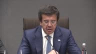 Turkey's Economy Minister Nihat Zeybekci and Minister of Petroleum and South Sudan's Finance and Economic Planning Minister Stephen Dhieu Dau attend...