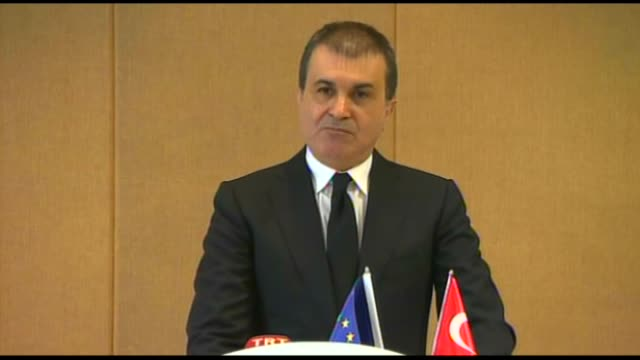 Turkey's EU Minister Omer Celik gives a speech during a press conference on European Parliament's plenary session in Adana Turkey on November 24 2016...