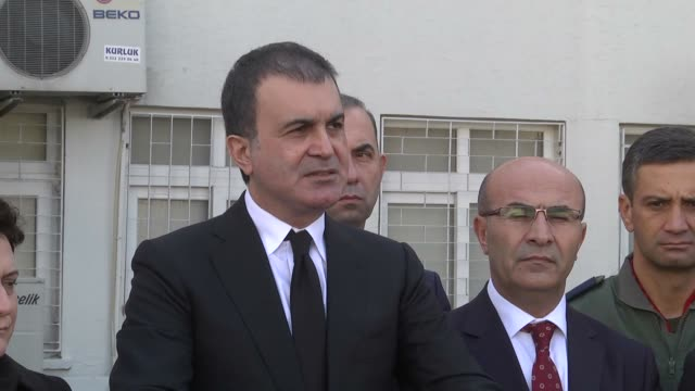 Turkey's EU Minister Omer Celik speaks during a press conference after terror attack in southern Turkey's Adana province on November 24 2016 A bomb...