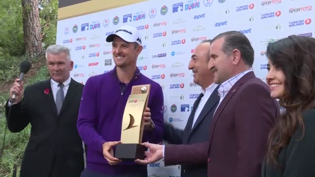 Turkey's Foreign Minister Mevlut Cavusoglu and Youth and Sports Minister Osman Askin Bak attend award ceremony on the last day of the Turkish...