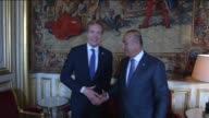 Turkey's Foreign Minister Mevlut Cavusoglu meets Norwegian Foreign Minister Borge Brende as part of the second restricted meeting of the foreign...
