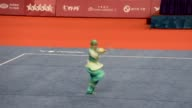 Turkey's Yavuz Selim Kazanci wins bronze medal after the men's 80kg event of Wushu during the 2017 Summer Universiade in Taipei Taiwan on August 29...