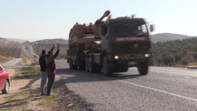 Turkish Army convoy is on its way to Gaziantep's Islahiye district to be deployed on the Syrian border on October 23 2017 in Kilis Turkey In line...