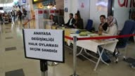 Turkish citizens living abroad cast their ballots for the upcoming constitutional referendum at Antalya International airport in Antalya Turkey on...