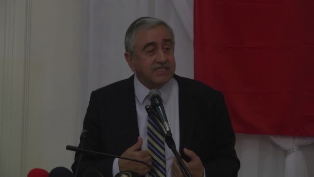 Turkish Cypriot leader Mustafa Akinci delivers a speech during a meeting with representatives of the nongovernmental organizations and Turkish...