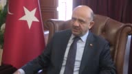 Turkish Defense Minister Fikri Isik speaks to the press in IZmir western Turkey on February 23 2017 after the Free Syrian Army backed by the Turkish...