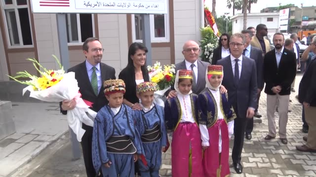 Turkish Deputy Education Minister Orhan Erdem Adana governor Mahmut Demirtas US ambassador to the UN Nikki Haley and officials attend the opening...
