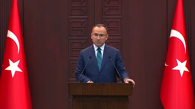 Turkish deputy Prime Minister and government spokesman Bekir Bozdag holds a press conference at Cankaya Palace in Ankara Turkey on October 30 2017...
