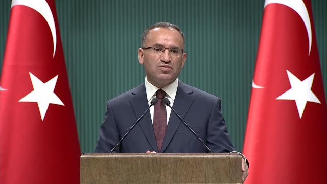 Turkish deputy Prime Minister Bekir Bozdag speaks to reporters during a press conference in Ankara Turkey on November 20 2017 Speaking about the...