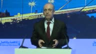 Turkish Deputy Prime Minister Mehmet Simsek delivers a speech during the 12th Turkish Arab Economic Forum at the Swiss Hotel in Istanbul Turkey on...