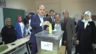 Turkish Deputy Prime Minister Numan Kurtulmus cast his ballot for the constitutional referendum at a polling station in Istanbul Turkey on April 16...