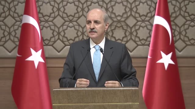 Turkish Deputy Prime Minister Numan Kurtulmus speaks at a news conference following a Cabinet meeting in Ankara Turkey on June 05 2017 Turkish Deputy...