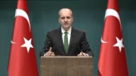 Turkish deputy Prime Minister Numan Kurtulmus speaks at a press conference after a meeting of the Council of Ministers in Ankara Turkey on February...