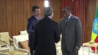 Turkish Economy Minister Nihat Zeybekci meets with Prime Minister of Ethiopia Hailemariam Desalegn in Addis Ababa Ethiopia on December 28 2016