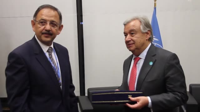 Turkish Environment and Urbanisation Minister Mehmet Ozhaseki meets with UN Secretary General Antonio Guterres on the sidelines of the COP 23 United...