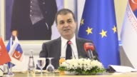 Turkish EU Minister and Chief Negotiator Omer Celik makes a statement during a meeting with the representatives of media and press at the ministry...