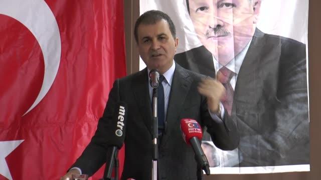 Turkish EU Minister and Chief Negotiator Omer Celik slams Dutch move canceling Turkish FM Mevlut Cavusoglu's flight permit during a meeting in...