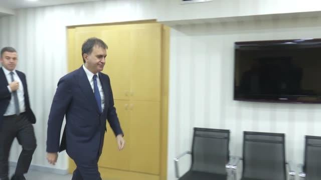 Turkish EU Minister Omer Celik receives chairperson of the European Affairs Committee at Croatia's parliament Domagoj Ivan Milosevic in Ankara Turkey...