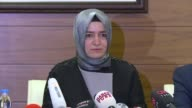 Turkish Family Minister Fatma Betul Sayan Kaya speaks at a press conference at Ataturk Airport in Istanbul on March 12 2017 Turkey's minister of...