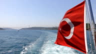 Turkish Flag of the ship in Istanbul