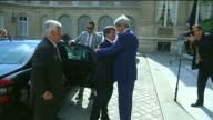 Turkish Foreign Minister Ahmet Davutoglu meets with US Secretary of State John Kerry for a meeting in Paris France on July 26 2014 Footage by Vural...