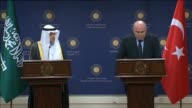 Turkish Foreign Minister Feridun Sinirlioglu and Saudi Arabia's Foreign Minister Adel alJubeir attend a joint press conference after their meeting in...