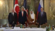 Turkish Foreign Minister Feridun Sinirlioglu US Secretary of State John Kerry Saudi Arabia's Foreign Minister Adel alJubeir and Foreign Minister of...