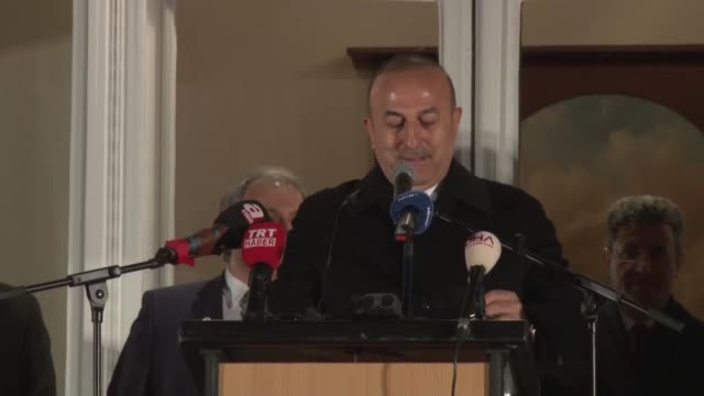 Turkish Foreign Minister Mevlut Cavusoglu addresses to the Turkish people living in Europe at residence of Turkish ConsulateGeneral in Hamburg on...