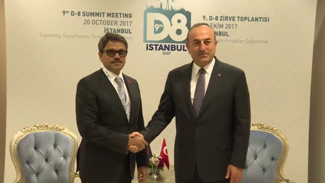 Turkish Foreign Minister Mevlut Cavusoglu and Bangladeshi State Minister for Foreign Affairs Shahriar Alam hold a meeting on the sidelines of the...