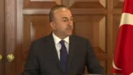 Turkish Foreign Minister Mevlut Cavusoglu and Estonian Foreign Minister Sven Mikser attend a joint press conference after their meeting at Foreign...