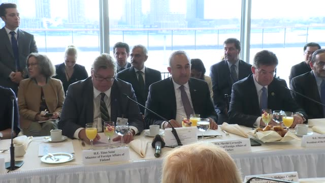 Turkish Foreign Minister Mevlut Cavusoglu and Finnish Foreign Minister Timo Soini speaks at the meeting of the UN Group of Friends of Mediation at...