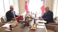 Turkish Foreign Minister Mevlut Cavusoglu and French Minister for Europe and Foreign Affairs JeanYves Le Drian hold a meeting at the Presidential...