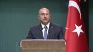Turkish Foreign Minister Mevlut Cavusoglu and French Minister for Europe and Foreign Affairs JeanYves Le Drian hold a joint press conference...