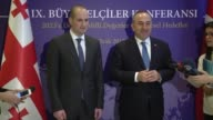 Turkish Foreign Minister Mevlut Cavusoglu and his Georgian counterpart Mikheil Janelidze speak to the media following their meeting on the sidelines...