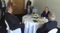 Turkish Foreign Minister Mevlut Cavusoglu and his Greek counterpart Nikos Kotzias hold a meeting on the sidelines of the ongoing Cyprus reunification...
