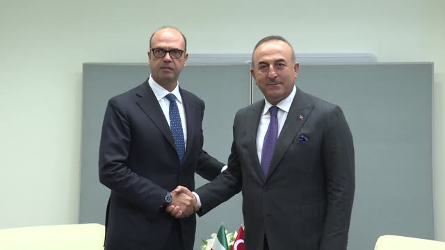Turkish Foreign Minister Mevlut Cavusoglu and his Italian counterpart Angelino Alfano hold a meeting on the sidelines of the 72nd United Nations...