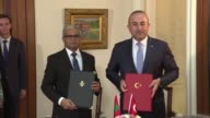 Turkish Foreign Minister Mevlut Cavusoglu and his Maldivian counterpart Mohamed Asim attend a signing ceremony and hold a joint press conference...
