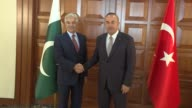 Turkish Foreign Minister Mevlut Cavusoglu and his Pakistani counterpart Khawaja Muhammad Asif hold a meeting in Ankara Turkey on September 12 2017