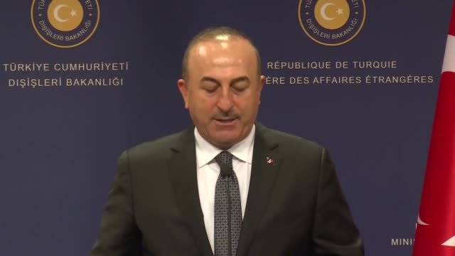 Turkish Foreign Minister Mevlut Cavusoglu and his Portuguese counterpart Augusto Santos Silva sign a memorandum of understanding before their joint...