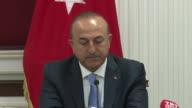 Turkish Foreign Minister Mevlut Cavusoglu and his Uzbek counterpart Abdulaziz Komilov attend a joint press conference after their meeting in Tashkent...