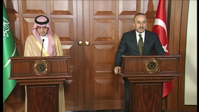 Turkish Foreign Minister Mevlut Cavusoglu and Saudi Arabian conterpart Adel bin Ahmed AlJubeir hold press conference after their meeting in Ankara...