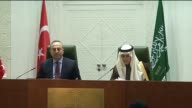 Turkish Foreign Minister Mevlut Cavusoglu and Saudi Arabian Foreign Minister Adel bin Ahmed AlJubeir attend a joint press conference after their...