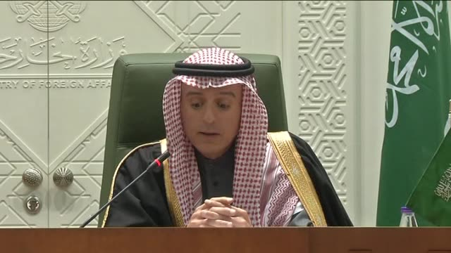 Turkish Foreign Minister Mevlut Cavusoglu and Saudi Foreign Minister Adel bin Ahmed AlJubeir hold a joint press conference in Riyadh Saudi Arabia on...