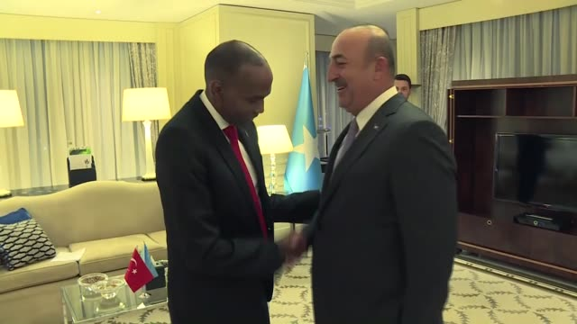 Turkish Foreign Minister Mevlut Cavusoglu and Somalian Prime Minister Hassan Ali Khayre hold a meeting at JW Marriott Hotel in Ankara Turkey on...