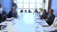 Turkish Foreign Minister Mevlut Cavusoglu and UN SecretaryGeneral Antonio Guterres hold a meeting on the sidelines of the ongoing Cyprus...