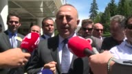 Turkish Foreign Minister Mevlut Cavusoglu answers press members' questions after a conference on Cyprus in CransMontana Switzerland on July 4 2017
