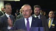 Turkish Foreign Minister Mevlut Cavusoglu answers press members' questions after a conference on Cyprus in CransMontana Switzerland on July 5 2017